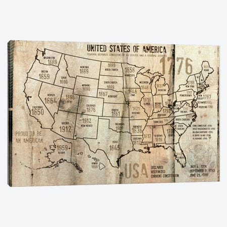 Map Of USA XII Canvas Print #ORL91} by Irena Orlov Art Print