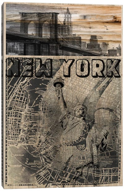 NYC, Old City Map Canvas Art Print