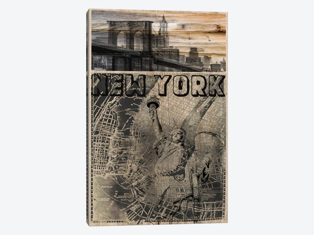 NYC, Old City Map by Irena Orlov 1-piece Canvas Print