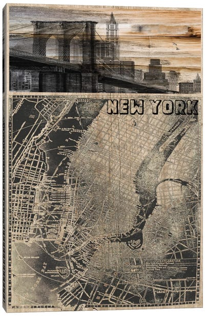 NYC, Old City Map III Canvas Art Print