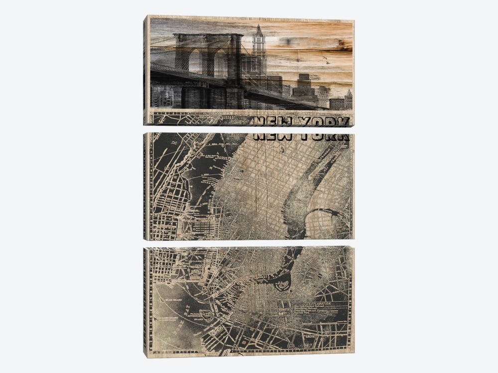 NYC, Old City Map III by Irena Orlov 3-piece Canvas Artwork