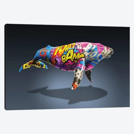 Tagged Whale Canvas Print #ORM14} by James Ormiston Art Print