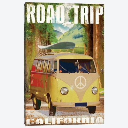 California Road Trip Canvas Print #ORT105} by Old Red Truck Canvas Wall Art