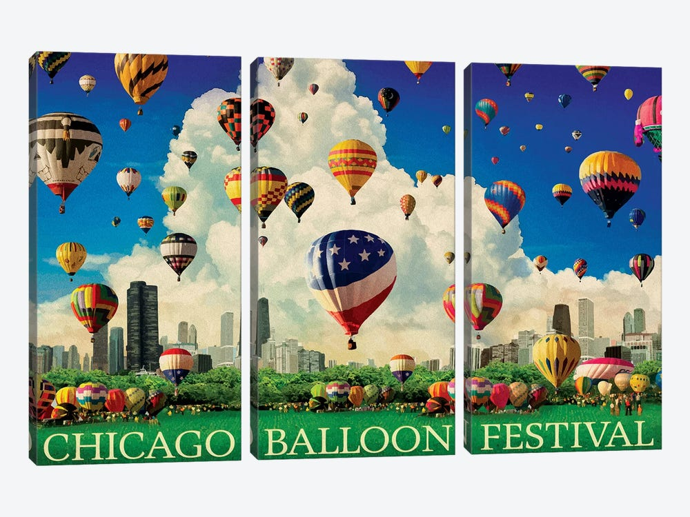 Chicago Balloon Fest by Old Red Truck 3-piece Canvas Wall Art