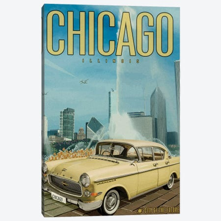 Chicago City of the Future 3-Piece Canvas #ORT110} by Old Red Truck Canvas Wall Art