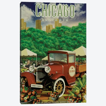 Chicago Farmers Market Canvas Print #ORT111} by Old Red Truck Canvas Wall Art