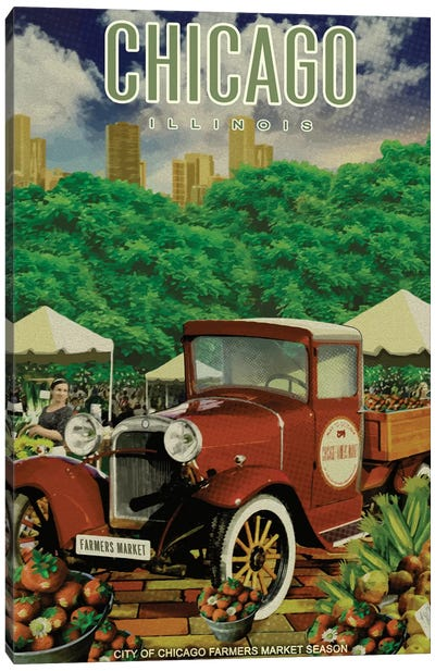 Chicago Farmers Market Canvas Art Print