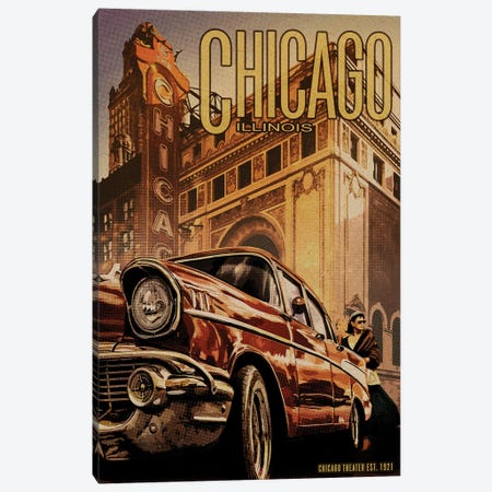 Chicago Theater 3-Piece Canvas #ORT116} by Old Red Truck Canvas Print