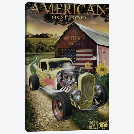 Hot Rod Sunflower Canvas Print #ORT127} by Old Red Truck Canvas Wall Art