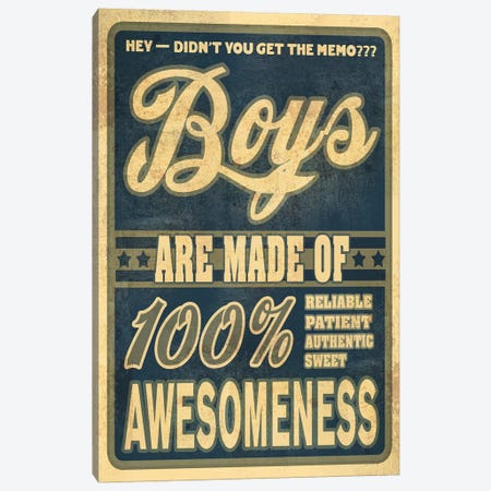 Boys Are 100% Awesomeness Canvas Print #ORT13} by Old Red Truck Canvas Art Print