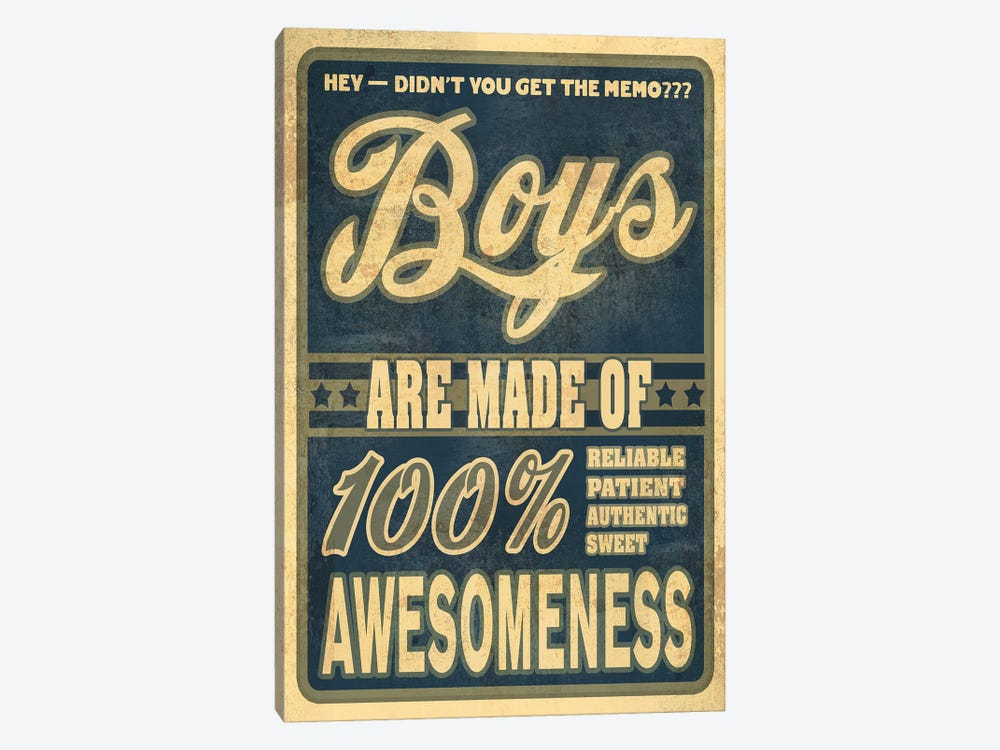 Boys Are 100% Awesomeness by Old Red Truck 1-piece Canvas Wall Art