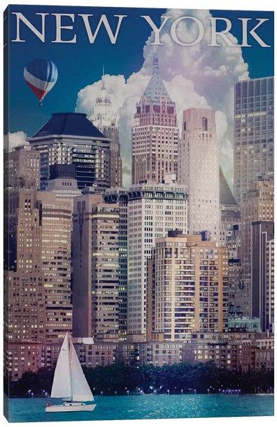 New York Manhattan River Front Canvas Art Print