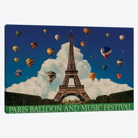 Paris Balloon Music Fest 3-Piece Canvas #ORT143} by Old Red Truck Canvas Print