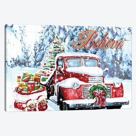 Red Truck Christmas Canvas Print #ORT147} by Old Red Truck Canvas Artwork