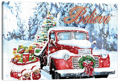 Red Truck Christmas Canvas Art Print