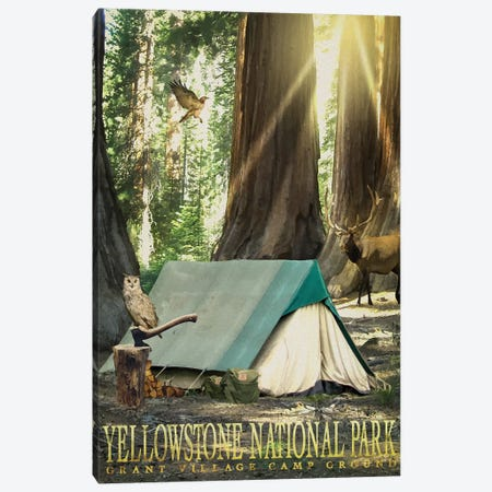 Redwood Camping Canvas Print #ORT148} by Old Red Truck Canvas Art Print