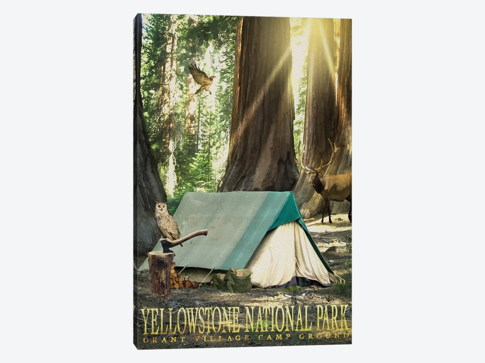 Redwood Camping by Old Red Truck 1-piece Canvas Art Print