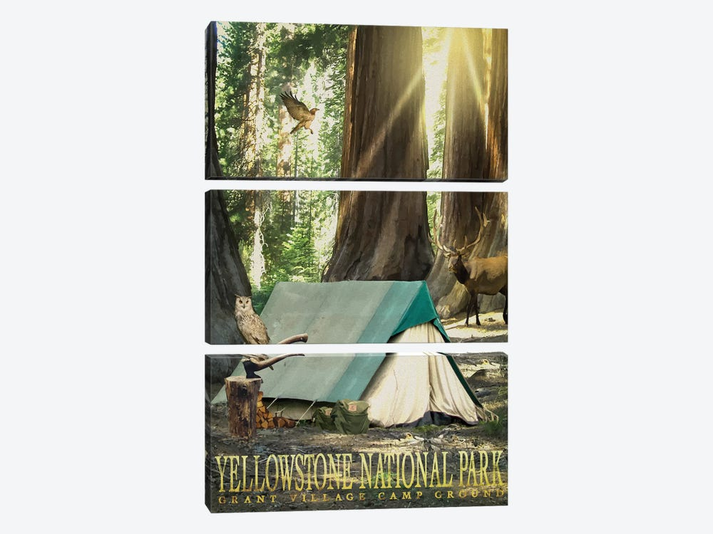 Redwood Camping by Old Red Truck 3-piece Canvas Art Print