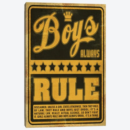 Boys Rule Canvas Print #ORT14} by Old Red Truck Canvas Wall Art