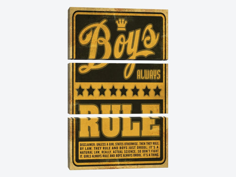 Boys Rule by Old Red Truck 3-piece Canvas Print