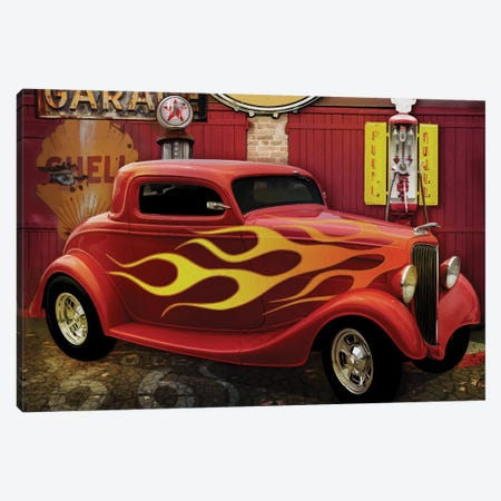 Route 66 Garage Canvas Print #ORT150} by Old Red Truck Canvas Art