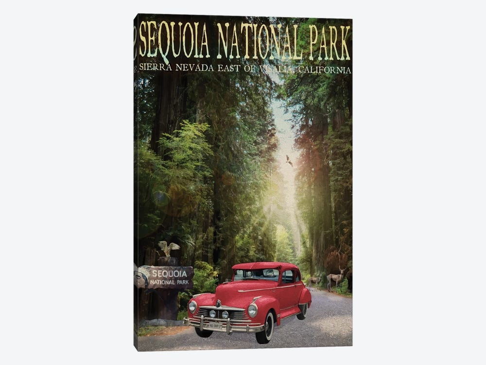 Sequioa National Park by Old Red Truck 1-piece Canvas Art Print