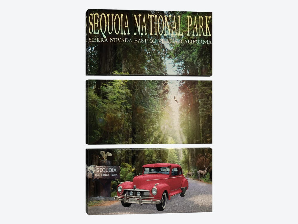 Sequioa National Park by Old Red Truck 3-piece Canvas Print