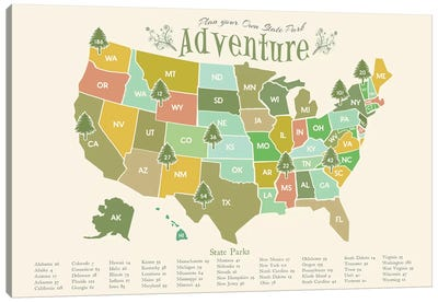 State Park Map Canvas Art Print