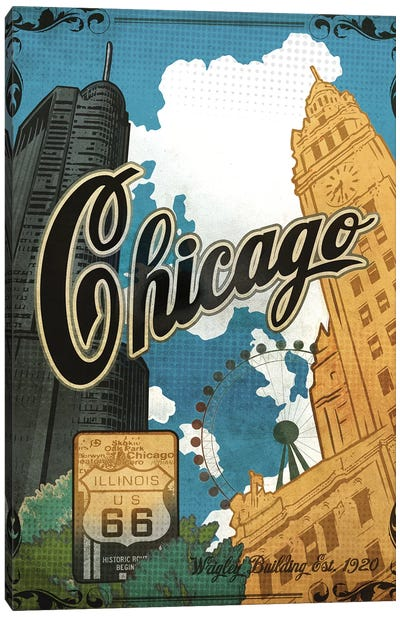 Vintage Chicago Poster Canvas Art Print