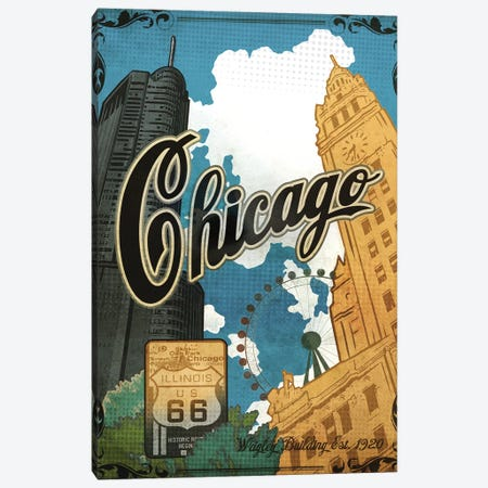 Vintage Chicago Poster Canvas Print #ORT159} by Old Red Truck Canvas Artwork