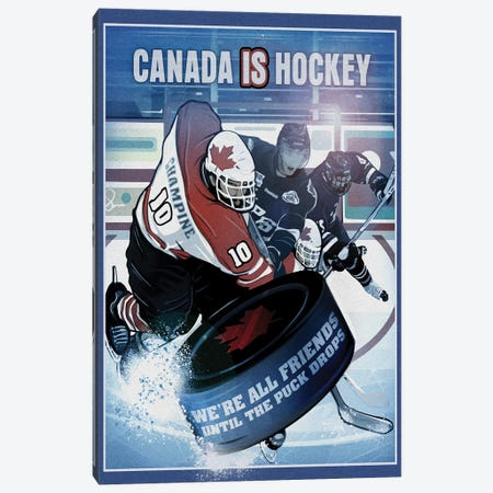 Canada Is Hockey Canvas Print #ORT15} by Old Red Truck Canvas Art