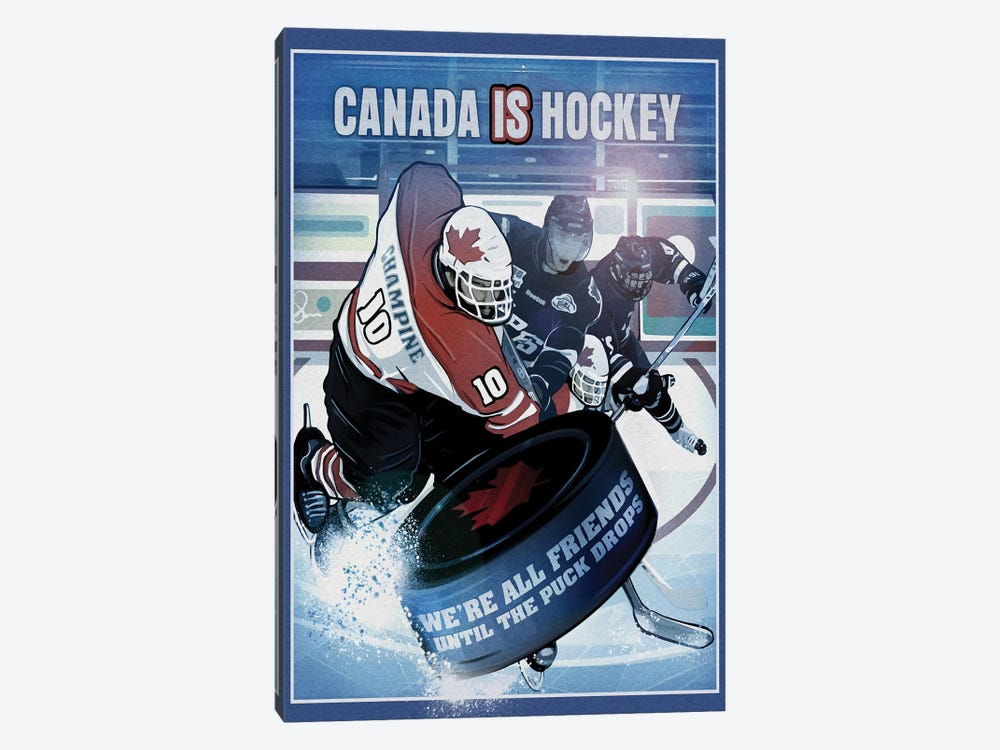 Canada Is Hockey by Old Red Truck 1-piece Canvas Art