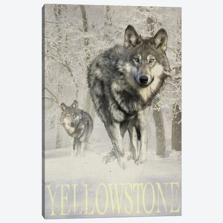 Wolf Snow Canvas Print #ORT163} by Old Red Truck Art Print