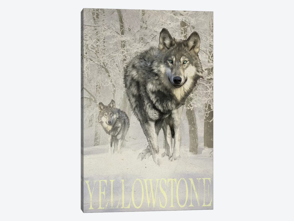 Wolf Snow by Old Red Truck 1-piece Canvas Artwork