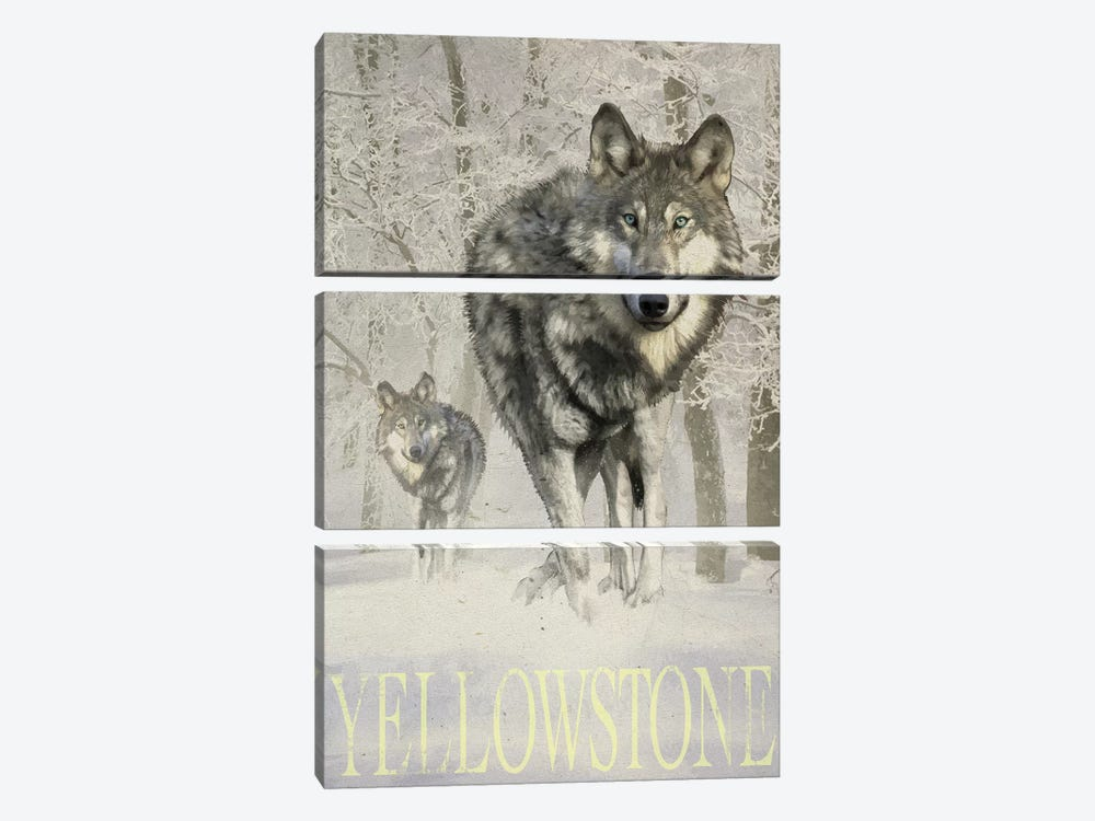 Wolf Snow by Old Red Truck 3-piece Canvas Wall Art