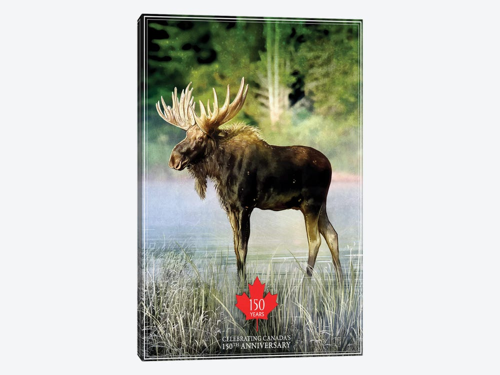 Canada's 150th Anniversary, Moose by Old Red Truck 1-piece Canvas Artwork