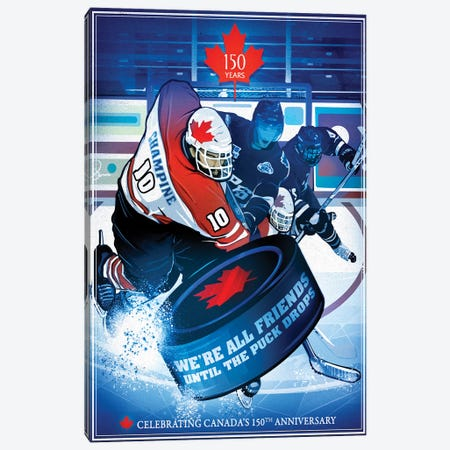 Canada's 150th Anniversary, Slapshot Canvas Print #ORT18} by Old Red Truck Art Print
