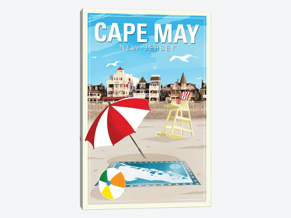 Cape May by Old Red Truck 1-piece Canvas Wall Art