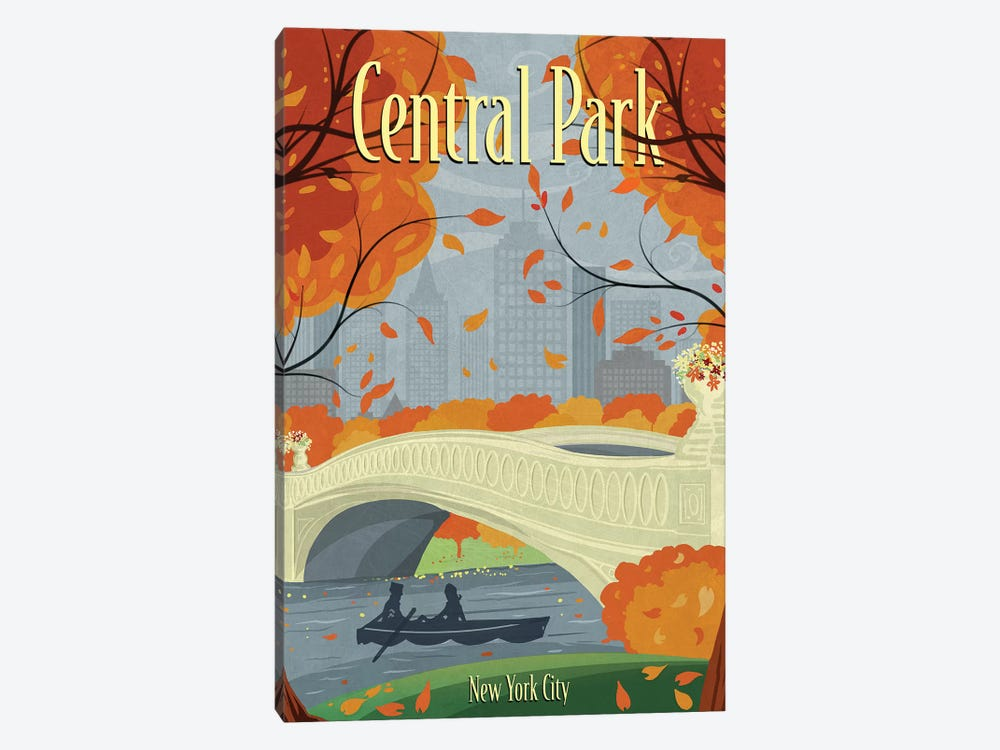 Central Park by Old Red Truck 1-piece Canvas Art