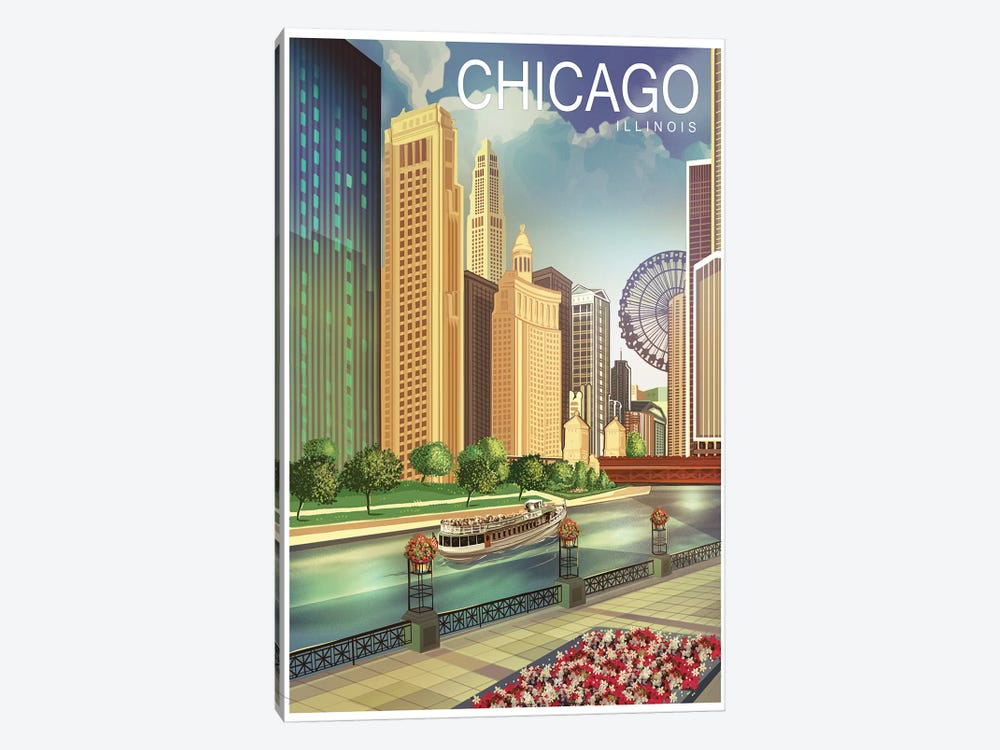Chicago I 1-piece Canvas Art Print