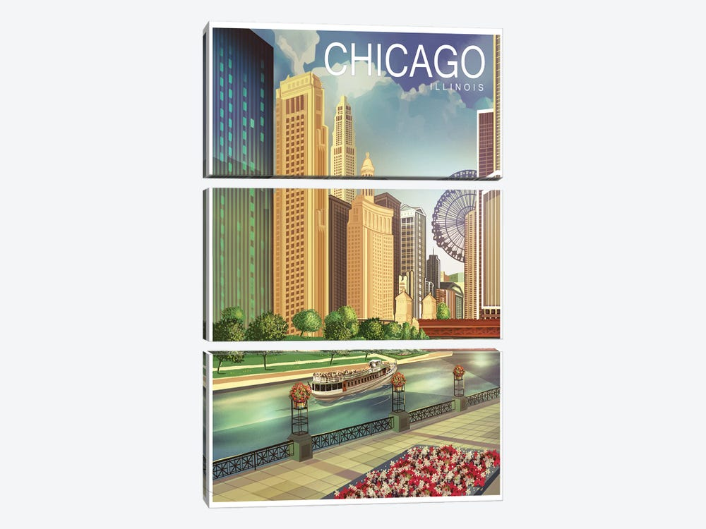 Chicago I by Old Red Truck 3-piece Canvas Art Print