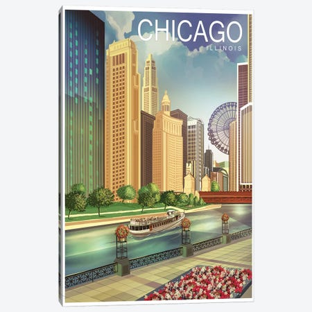 Chicago I 3-Piece Canvas #ORT23} by Old Red Truck Canvas Art