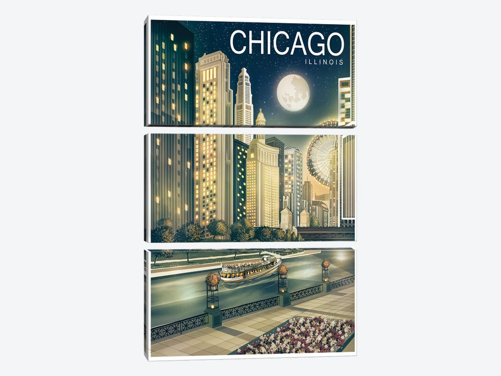Chicago II by Old Red Truck 3-piece Canvas Art