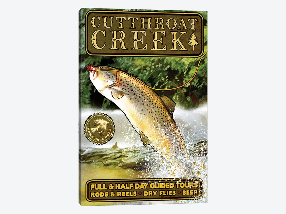 Cutthroat Creek Brown Trout by Old Red Truck 1-piece Canvas Print