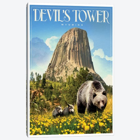 Devil's Tower Canvas Print #ORT26} by Old Red Truck Art Print