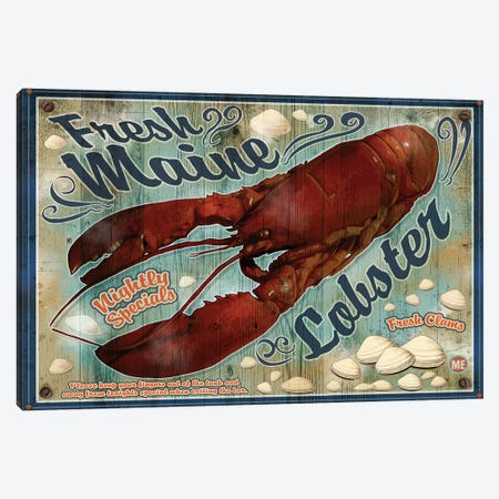Fresh Maine Lobster Sign 3-Piece Canvas #ORT30} by Old Red Truck Canvas Print