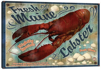 Fresh Maine Lobster Sign Canvas Art Print