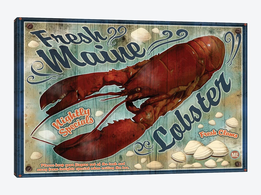 Fresh Maine Lobster Sign by Old Red Truck 1-piece Canvas Art Print