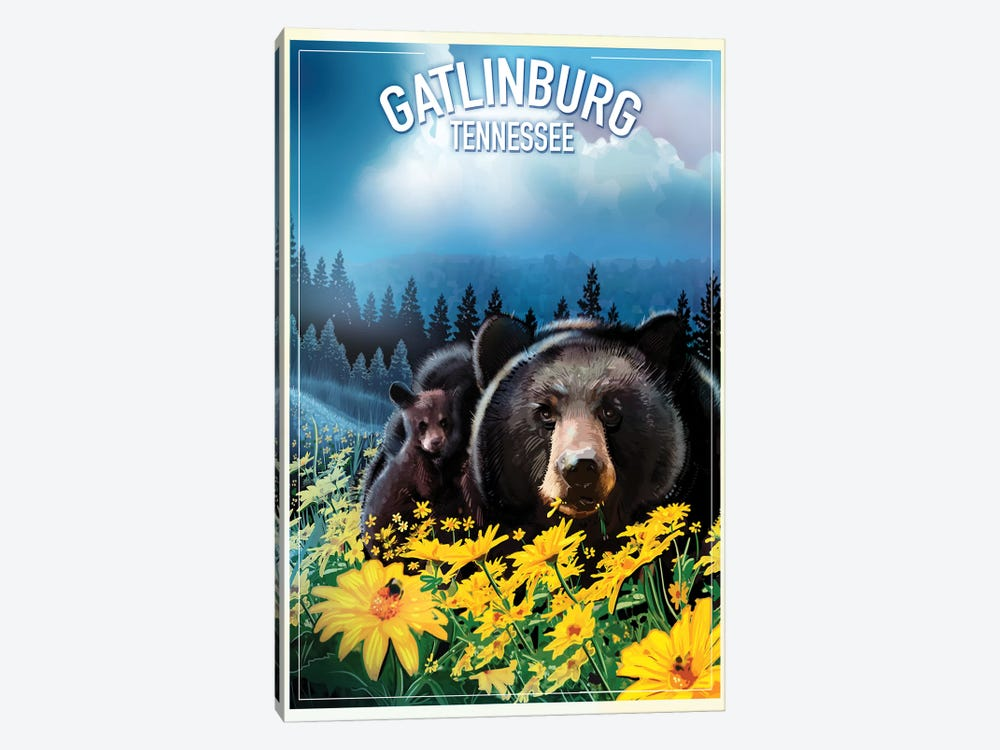 Gatlinburg, Tennessee by Old Red Truck 1-piece Canvas Wall Art
