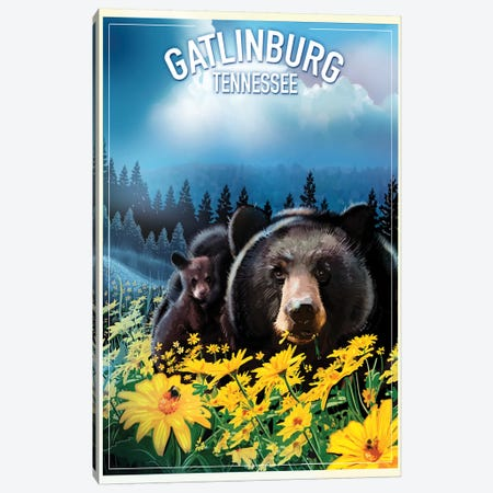 Gatlinburg, Tennessee 3-Piece Canvas #ORT31} by Old Red Truck Canvas Art Print